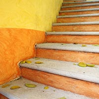 orange staircase to success